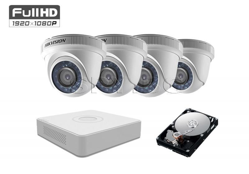 Комплект от 4 камери 2MP за малка къща HDD 500GB