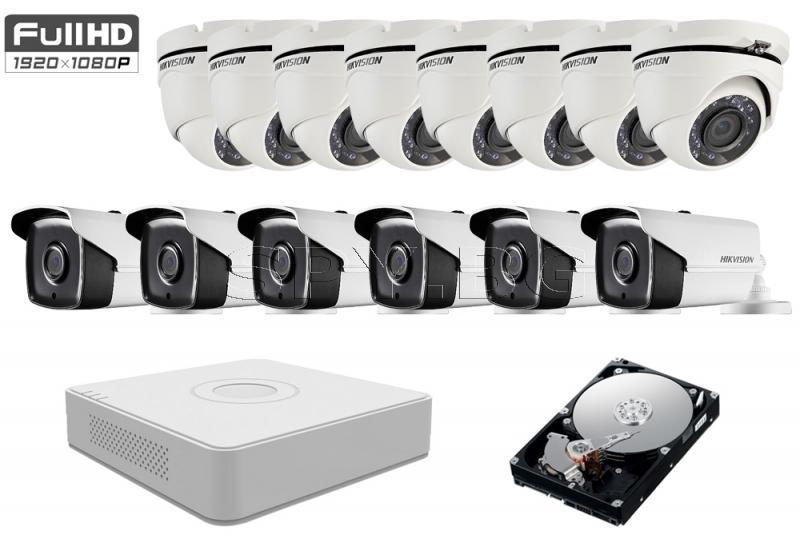 Комплект от 14 камери 2MP за голямо производство HDD 2TB