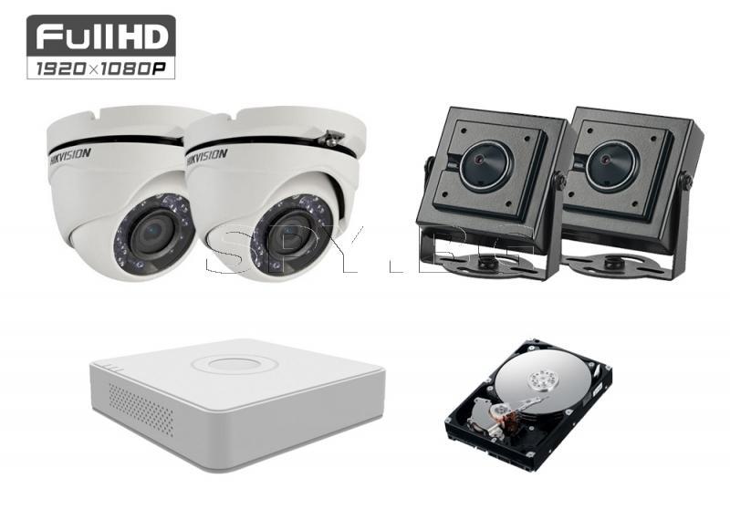 Комплект от 4 камери 2MP за вход / асансьор HDD 500GB