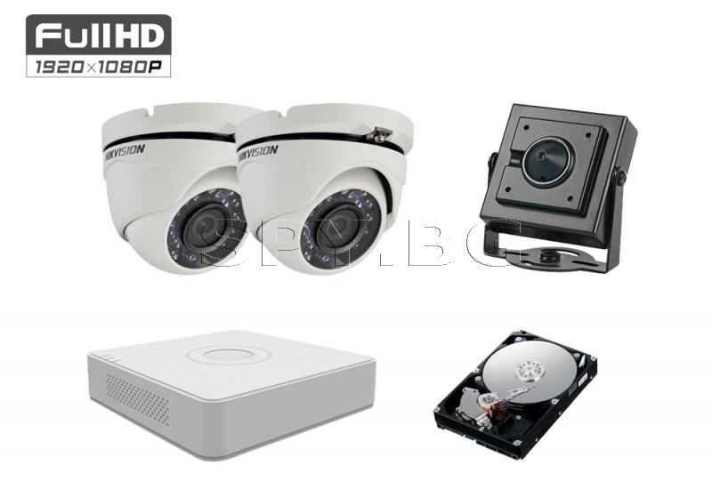 Комплект от 3 камери 2MP за вход / асансьор HDD 500GB
