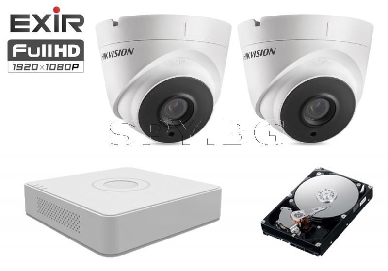 4в1 HD-TVI камера 2MP HIKVISION и 500GB твърд диск