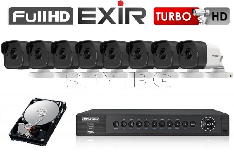 8 камери 5MP HIKVISION с рекордер и 1TB твърд диск за цех