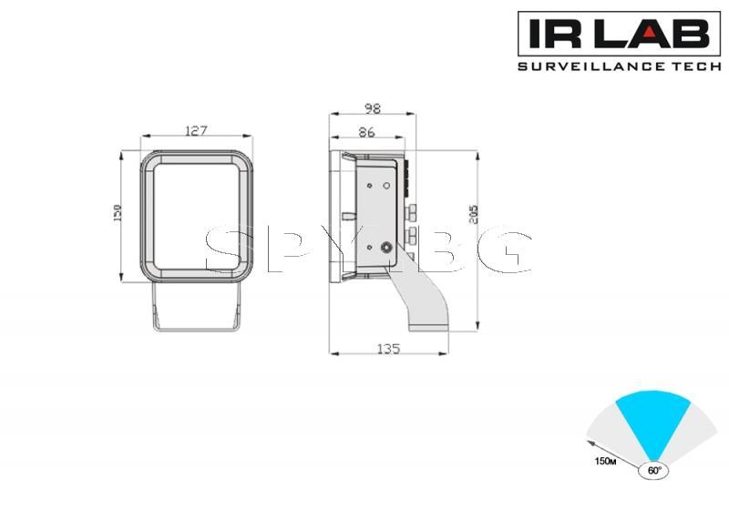 LED инфрачервен прожектор за външен монтаж 150м IRLAB