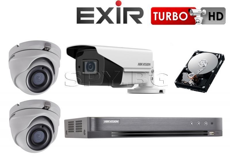3 камери 5MP HIKVISION с рекордер и 1TB твърд диск