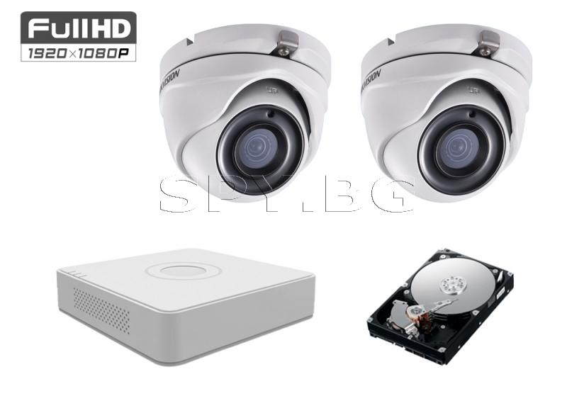 Комплект от 2 камери 2MP за вход на кооперация HDD 500GB HIKVISION