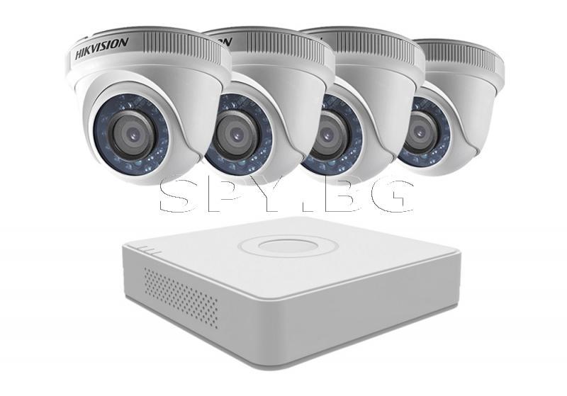 Комплект 4 вътрешни камери 1MP и 4 канален рекордер HIKVISION