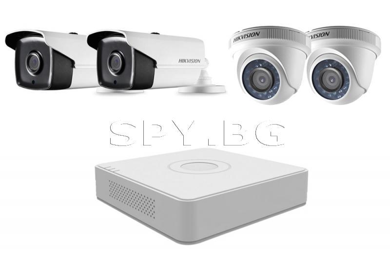 Комплект 2 външни и 2 вътрешни камери 2MP и 4 канален рекордер HIKVISION