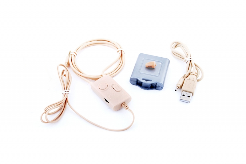 Микрослушалка с телесен цвят и примка с усилвател